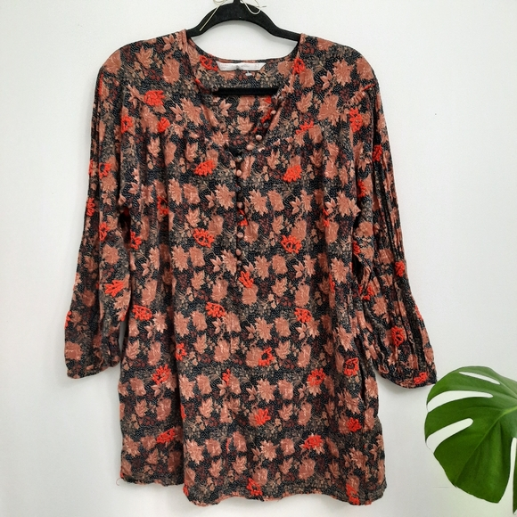 Zara Trafaluc Embroidered Floral Long Sleeve Dress